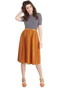 A Swish in Time Skirt in Amber   Mod Retro Vintage Skirts   ModCloth.com