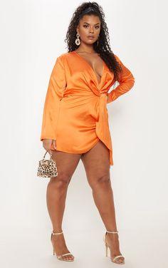 Plus Orange Satin Langarm Wickelkleid, Plus Zise, Mode Plus, Curvy Women Fashion, Plus Size Fashion, Womens Fashion, Fashion Top, Fashion 2018, Cheap Fashion, Curvy Outfits