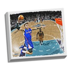 """Steiner Sports Los Angeles Clippers Blake Griffin 32"""" x 40"""" Stretched Canvas, Multicolor"""