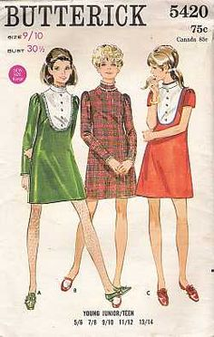 Butterick Teen One Piece Dress Sewing Pattern #5420 - $15.00 : Vintage Collectibles Sewing Patterns Postcards Aprons Ephemera
