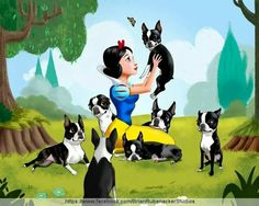Snow White and the 7 dwarfs....um...Boston Terriers