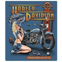 Harley Davidson Mechanic Babe Sign - Ande Rooney Harley Davidson Embossed Tin Sign Collection utilizes lithographed on tin process, this makes for a more detailed and inticate sign. The result is a re