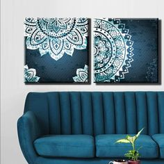 2 Pieces Each Box Framed Canvas Print Artwork Stretched Gallery Wrapped Wall Art Like Painting Hanging Original Decorative Modern Home & Living Decor Mandala Menhdi Flower Pattern Ornament Om Indian Hindu Buddha