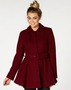 Bordeaux flared coat from at Beaver New Zealand  Winter Must Haves, Knitting Accessories, Vintage Knitting, Winter Looks, Winter Wear, Wool Blend, Coat, Bordeaux, Womens Fashion
