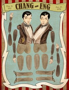 Chang and Eng circus historical paper doll by SignifyingNotShop