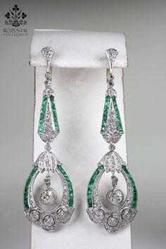 ANTIQUE ART DECO PLATINUM DIAMOND & EMERALD EARRINGS