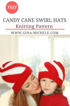 15d0b4ec8eb Easy Candy Cane Swirl Hat Knitting Pattern- women and kids sizes. Baby Hats  ...
