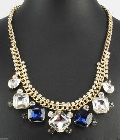Exquisite Gorgeous Gold pf Dark Blue and Crystal Necklace Wedding Prom Holiday Event