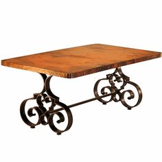 Our copper & iron dining table is perfect for a rustic mountain lodge, Spanish Colonial Estate Hacienda or Tuscan Villa. Decor, Table, Iron Accents, Table Base, Home Decor, Wrought Iron Dining Table, Dining Table Bases, Dining, Dining Table