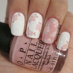 Pretty in pink floral design. @ nailsbynikkih