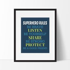 Superhero Rules Print - Superhero Typography Print. Great for the walls of your little ones superhero themed bedroom or playroom! During