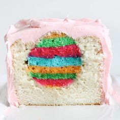 Surprise your Easter guests with a white cake that features hidden multi-colored stripes of cake in the shape of eggs down the center. For convenience, divide the preparation among 2 days. Make and freeze the striped cake for the cake eggs on one day. Then on the following day, cut out the cake eggs and make the loaf cake. Recipe and photo credit: Amanda Rettke from I am baker.