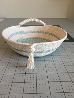 "12.5 yards with 5"" base Pantry Baskets, Toy Storage Baskets, Rope Basket, Basket Weaving, Cotton Bowl, Pine Needle Baskets, Fabric Bowls, Crochet Basket Pattern, How To Make Rope"