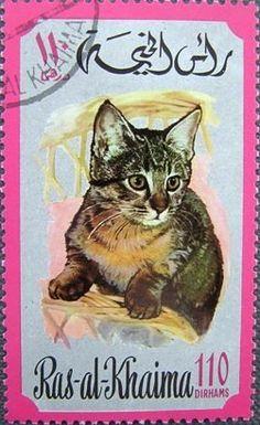 Stamp: Cat (Felis silvestris catus) (Ras al Khaimah) (Cats) Mi:RK Magic Cat, Postage Stamp Art, Vintage Stamps, Cat Quotes, Stamp Collecting, Mail Art, Pet Birds, Vintage Posters, Trucial States