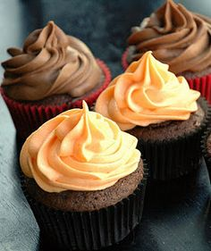 Orange and chocolate filled cupcakes