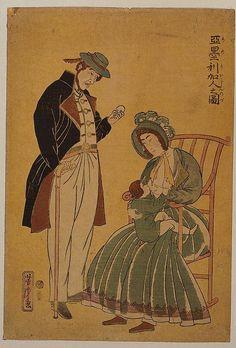 Japan - It's A Wonderful Rife: Yokohama-e Woodcut Print - The Ugly Americans Japanese Prints, Japanese Art, Ugly Americans, Old Images, Japanese Painting, Yokohama, Woodblock Print, Image Shows, Vintage Japanese