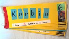 Create a class book of names. Children glue their letters on in the correct order. Then complete sentence after counting the number of letters in their name.: