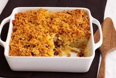 Sweet Kugel with Dried Fruit Recipe (parve noodle / luchen kugel) via Joy of Kosher with Jamie Geller