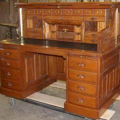 Clark Model Cherry Roll Top Desk custom made by Roll Top Desk Works