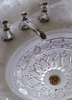 We just love the elegant lighted crystal basin. It seemed to add a bit more of an elegant touch. Dream Bathrooms, Beautiful Bathrooms, Luxury Bathrooms, Love Your Home, Bathroom Inspiration, Bathroom Ideas, Elegant Homes, Bathroom Interior Design, Decorating Your Home
