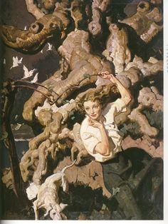 Complex details were a trademark of Dean Cornwell American Illustration, Art And Illustration, Painting Inspiration, Art Inspo, Dean Cornwell, Drawn Art, Art Graphique, The Villain, Pretty Art