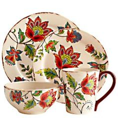 Elizabeth Dinnerware $8.00 for a dinner plate with the other pieces a buck cheaper. Sort of pretty, don't you think? And cheap...