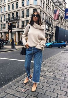 Cozy turtleneck sweater with wide leg jeans
