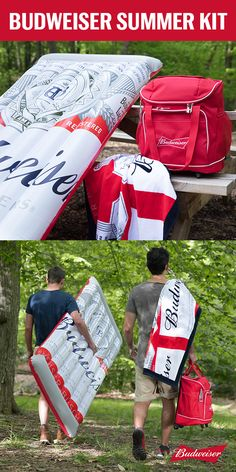 Summer = pool party time. Don't be that person who shows up empty handed. Grab our Budweiser summer kit, complete with a Bud pool float, beach towel, and wheeled cooler. Just make sure you fill it with some Buds before.
