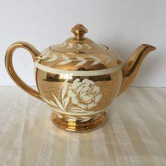 Vintage Sadler Teapot England Signed Gold Cream Floral Leaves #Sadler
