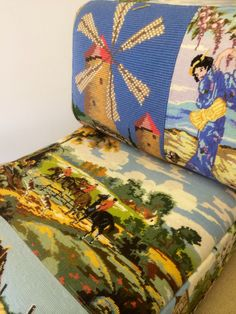 A 1970s modular chair reupholstered with a quirky and fun variety of tapestries. It's upholstery heading into the sphere of art