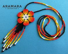 Beaded Flower, Native american necklace, Huichol necklace, Huichol jewelry, Flower necklace, Mexican Necklace, Mexican Jewelry, CFM-0048
