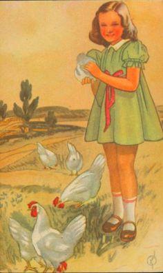 Gratulasjonskort Barnemotiv Erling Nielsen brukt 1940-tallet Norsk arbeide