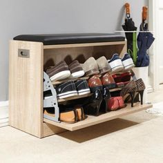 Deluxe Shoe Ottoman Bench Storage Closet Wooden Seat Rack Cabinet Natural   eBay