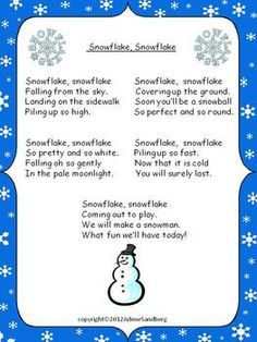 Snow Poetry Unit : Poems, Plays, and Writing Activities Christmas Concert, Christmas Poems, Preschool Christmas, Preschool Winter, Preschool Songs, Preschool Classroom, Kids Songs, Snow Poems, Kindergarten Poetry