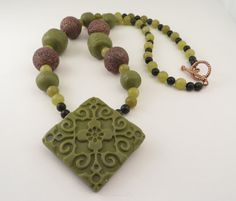 Faux Jade  Polymer Clay Necklace with Textured Pendant by OrbObsession