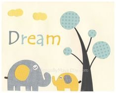 neutral gray baby nursery ideas | ... neutral nursery art, baby Elephant, gray, yellow, teal, turquoise