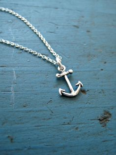 Sterling Silver Anchor Necklace Bridesmaid Jewelry Nautical Theme Tiny Anchor