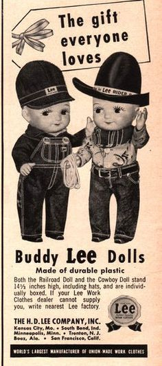 1951 Buddy Lee Jeans Doll print ad vintage decor H. D. by Vividiom, $9.00