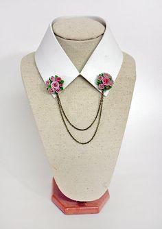 pink rose collar tips collar brooch handmade rose by Joyloveclay