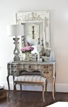 vanity mirror after being painted with homemade chalky paint