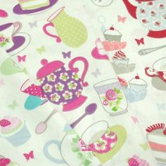 Rose Polka Dot Tea Party 100% Cotton Fabric 140cm Wide