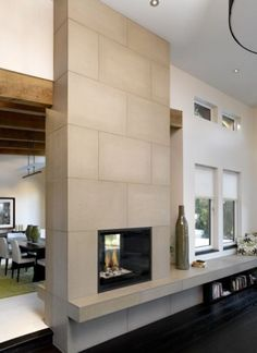 Large scale hand-cast concrete Fireplace Tiles by Solus Decor