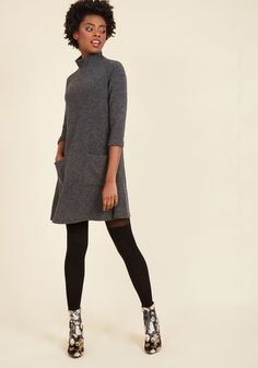 Ladies' Night In Sweater Dress. You don't need a night on the town to have a great time - a cozy get-together in this grey dress is just as fun! #grey #modcloth