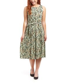 Look at this #zulilyfind! Beige & Mint Ikat Tie-Waist Midi Dress #zulilyfinds