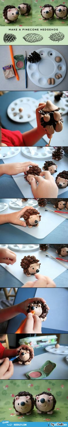 Make a pine-cone hedgehog | DIY Fun for Kids. Make into ornaments...