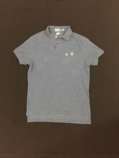 Polo Ralph Lauren Custom-Fit Cotton Mesh Derby Blue Rugby Polo Shirt Size M #PoloRalphLauren #PoloRugby