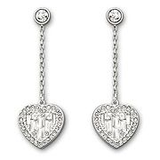 #Swarovski Sybil Heart Pierced Earrings featuring delicate hearts decorated with tiny baguette-cut clear crystals and clear crystal pavé #wedding #love
