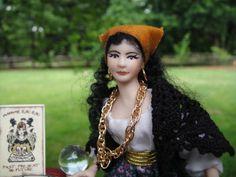 Dollhouse Miniatures ~ Gypsy or Fortune Teller Doll & Decorated Gypsy Table Set   eBay