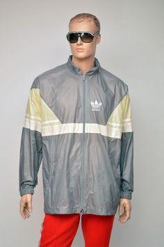 uk availability e31c4 a89de vintage ADIDAS 80s RAIN JACKET  windbreaker nylon cagoule size mens XL Vintage  Adidas, Mens