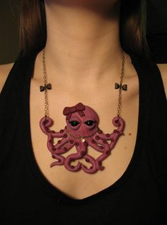 I'm not entirely sure why I want this, but I definitely do. -bc.....Pretty-in-Pink Octopus Necklace - OOAK Polymer Clay Jewelry